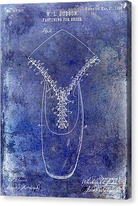 1896 Shoe Patent Blue Canvas Print by Jon Neidert