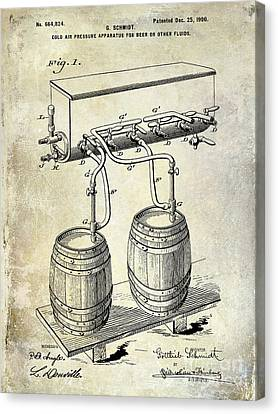 1900 Beer Keg System Patent Canvas Print by Jon Neidert
