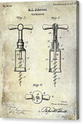 1907 Corkscrew Patent  Canvas Print by Jon Neidert
