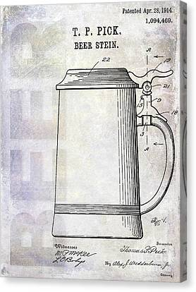 1914 Beer Stein Patent Canvas Print by Jon Neidert