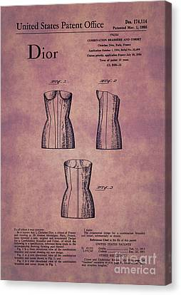 1955 Dior Combo Bra And Corset Design 1 Canvas Print by Nishanth Gopinathan