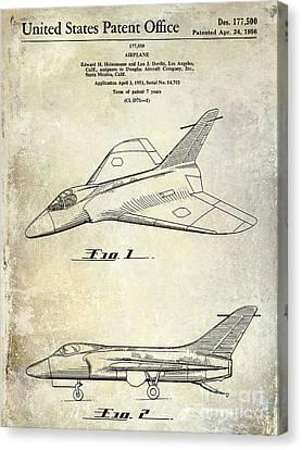 1956 Jet Airplane Patent 2 Blue Canvas Print by Jon Neidert