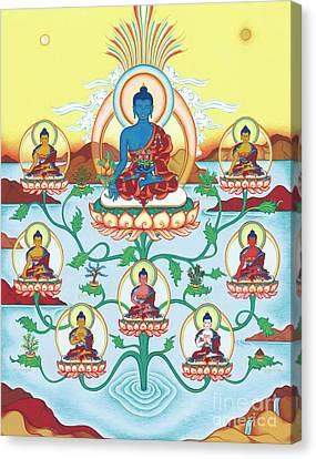 8 Medicine Buddhas Canvas Print by Carmen Mensink