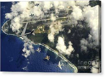 A B-52 Stratofortress Leads A Formation Canvas Print by Stocktrek Images
