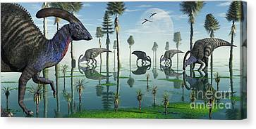 A Group Of Parasaurolophus Duckbill Canvas Print by Mark Stevenson