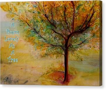 A Poem Lovely As A Tree Canvas Print by Helena Bebirian