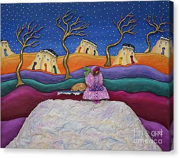 A Snowy Night Canvas Print by Anne Klar