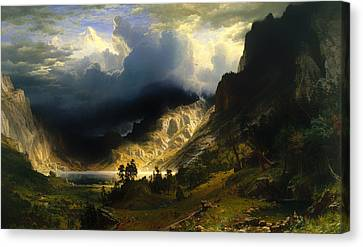 A Storm In The Rocky Mountains - Mt Rosalie Canvas Print by Mountain Dreams