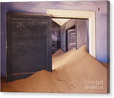 Abandoned House Filled With Drifting Sand Canvas Print by Jeremy Woodhouse