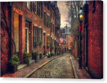 Acorn Street - Boston Canvas Print by Joann Vitali