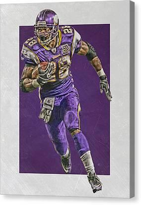 Adrian Peterson Minnesota Vikings Art Canvas Print by Joe Hamilton