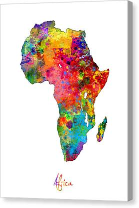 Africa Watercolor Map Canvas Print by Michael Tompsett