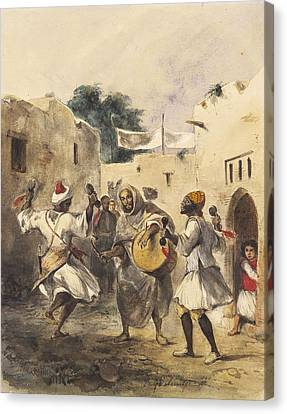 Africans Dancing In The Street Canvas Print by Eugene Delacroix