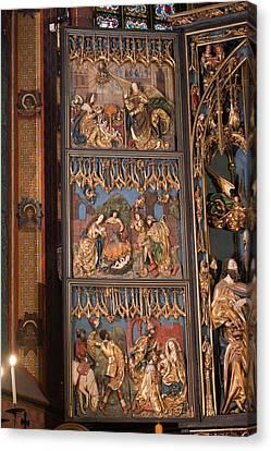 Altarpiece By Wit Stwosz In St. Mary's Basilica In Krakow Canvas Print by Artur Bogacki