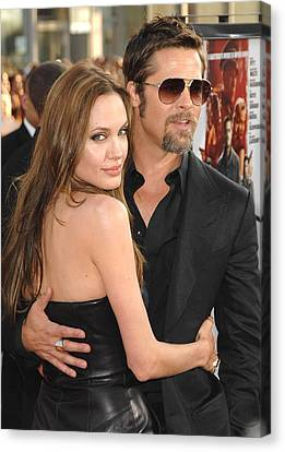 Angelina Jolie, Brad Pitt At Arrivals Canvas Print by Everett