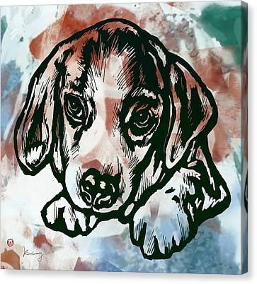 Animal Pop Art Etching Poster  - Dog  Canvas Print by Kim Wang