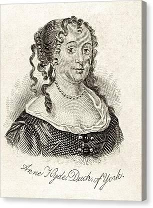 Anne Hyde Duchess Of York 1637-1671 Canvas Print by Vintage Design Pics