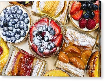 Assorted Tarts And Pastries Canvas Print by Elena Elisseeva