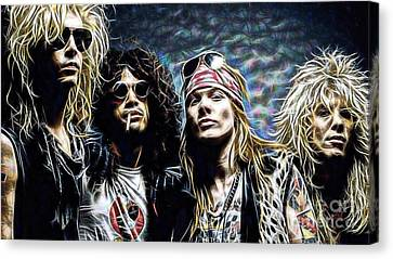 Axl Rose And Slash Guns N Roses Canvas Print by Marvin Blaine