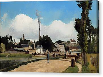 Banks Of The Oise At Pontoise Canvas Print by Mountain Dreams