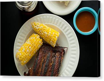 Barbecue Pork Spare Ribs With Corn And Potato Salad Canvas Print by Erin Cadigan