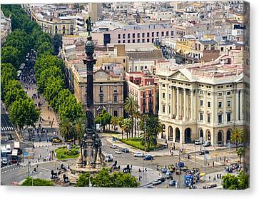 Barcelona With Tree-lined Las Ramblas Canvas Print by Annie Griffiths