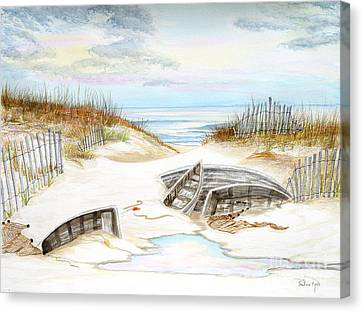 Beached Boats Canvas Print by Pauline Ross