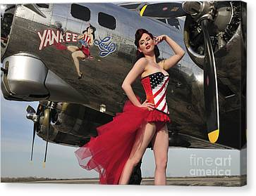 Beautiful 1940s Style Pin-up Girl Canvas Print by Christian Kieffer