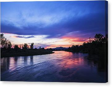 Beautiful Sunset Along Boise River Canvas Print by Vishwanath Bhat