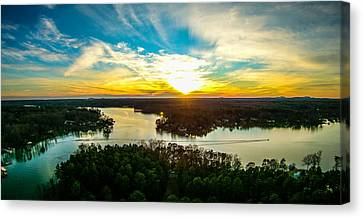 Beautiful Sunset Over Lake Wylie South Carolina Canvas Print by Alex Grichenko