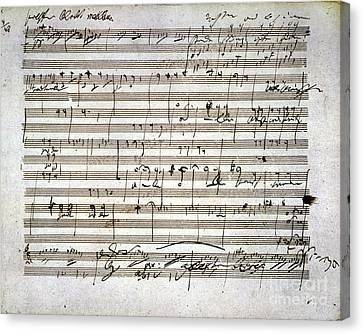 Beethoven Manuscript Canvas Print by Granger