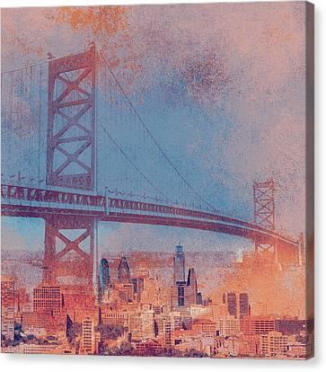 Ben Franklin Bridge Philadelphia Pa Canvas Print by Brandi Fitzgerald