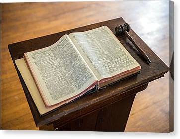 Bible And Gavel Canvas Print by Donald  Erickson