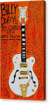 Billy Duffy Gretsch White Falcon Canvas Print by Karl Haglund