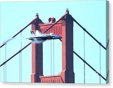 Blue Angels Crossing The Golden Gate Bridge 5 Canvas Print by Wingsdomain Art and Photography