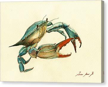 Blue Crab Painting Canvas Print by Juan  Bosco