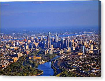 1 Boathouse Row Philadelphia Pa Skyline Aerial Photograph Canvas Print by Duncan Pearson