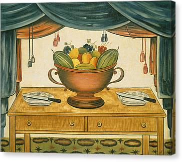 Bowl Of Fruit Canvas Print by American 19th Century