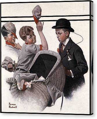 Boy With Baby Carriage Canvas Print by Norman Rockwell