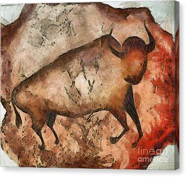 Bull A La Altamira Canvas Print by Michal Boubin
