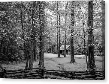 Cabin In Cades Cove Canvas Print by Jon Glaser