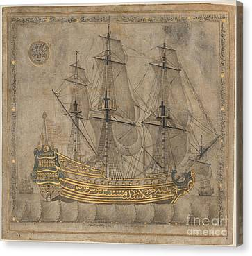 Calligraphic Galleon Canvas Print by Celestial Images