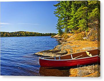 Canoe On Shore Canvas Print by Elena Elisseeva