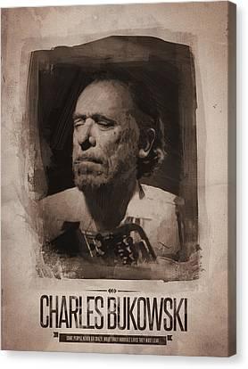 Charles Bukowski 01 Canvas Print by Afterdarkness