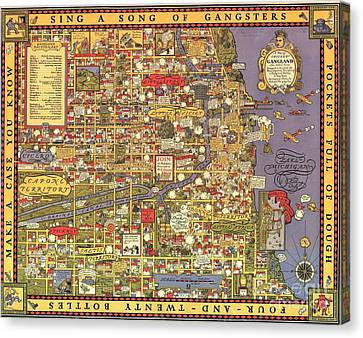 Chicago Gangland Map Canvas Print by Roberto Prusso