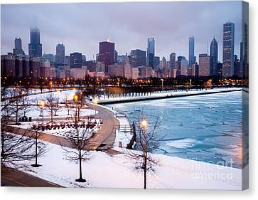 Chicago Skyline In Winter Canvas Print by Paul Velgos