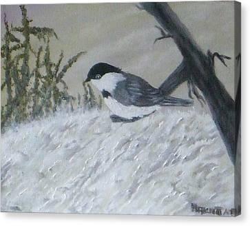 Chickadee Canvas Print by Rebecca  Fitchett