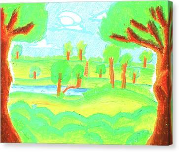 Children's Paint Summer Nature  Canvas Print by Sujin Jetkasettakorn