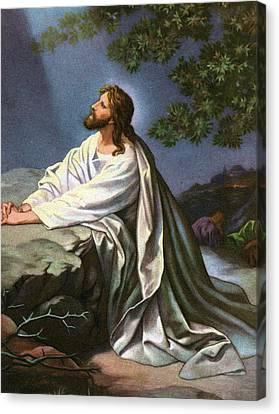 Christ In The Garden Of Gethsemane Canvas Print by Heinrich Hofmann