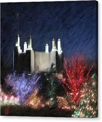 Christmas At The Temple Canvas Print by Geoffrey C Lewis